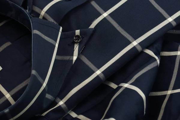 ★イタリアシャツ ドゥエボットーニ DANROMA SPORTIVO ESCLUSIVE 最高傑作!ネイビーに大胆白チェック L 42-93_画像1
