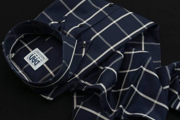 ★イタリアシャツ ドゥエボットーニ DANROMA SPORTIVO ESCLUSIVE 最高傑作!ネイビーに大胆白チェック L 42-93_画像2