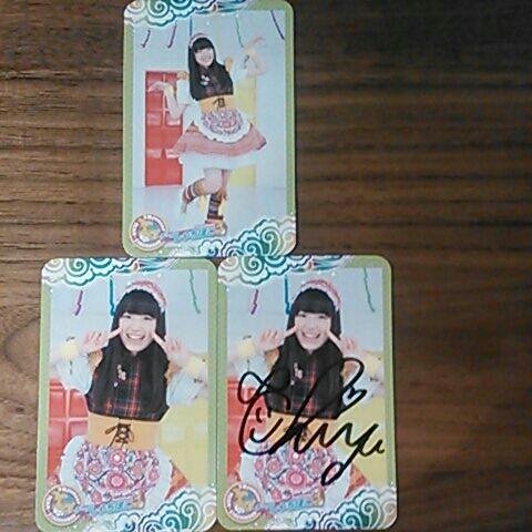 チームしゃちほこ伊藤千由季スティック菓子当たり直筆サインカード ライブグッズの画像