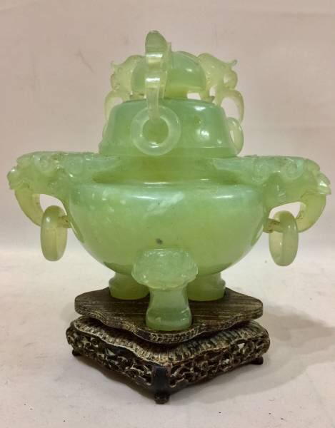 中国古玩極上大型翡翠玉石1600g遊環三足香炉(唐木低座付)