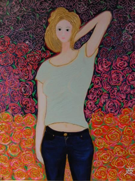 ≪国美協≫TOMOYUKI・友之、『花と少女・麗』、油彩画・F15号:65,2×53,0cm、油絵一点物、新品高級油彩額付、直筆サイン・真作保証付