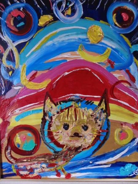 ≪国美協≫TOMOYUKI・友之、『キャット・宇宙猫』、油彩画・F15号:65,2×53,0cm、油絵一点物、新品高級油彩額付、直筆サイン・真作保証付