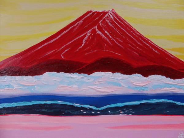 ≪国美協≫TOMOYUKI・友之、『赤富士・富士山』、油彩画・P15号:65,2×50cm、油絵一点物、新品高級油彩額付、直筆サイン・真作保証付