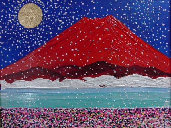 ≪国美協≫TOMOYUKI・友之、『雪の赤富士』、油彩画・F15号:65,2×53,0cm、油絵一点物、新品高級油彩額付、直筆サイン・真作保証付