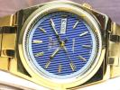 ★美品 セイコー5★ ヴィンテージ SEIKO ゴールド×ストライプブルー 機械式 自動巻 メンズ 腕時計
