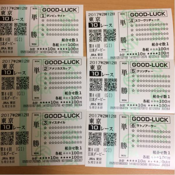 2017年 日本ダービー 全出走馬 現地単勝クイックピック馬券 勝ち馬 レイデオロ
