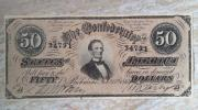 アンティーク 1864年アメリカ 南北戦争時代 大型50ドル紙幣