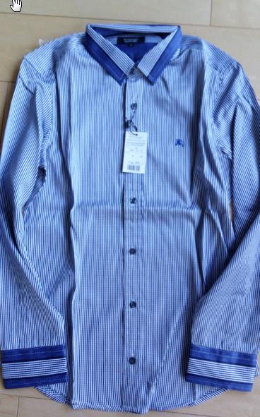 1円~新品バーバリーブラックレーベル 長袖シャツ 2(M)サイズ 青色 BURBERRY BLACK LABEL