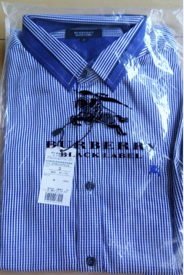 1円~新品バーバリーブラックレーベル 長袖シャツ 2(M)サイズ 青色 BURBERRY BLACK LABEL_画像3