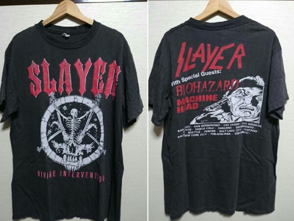 90年代スレイヤーSLAYER ヴィンテージバンドTシャツ○パキ綿 バイオハザード