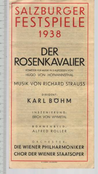 上演プログラム 1938年ザルツブルク音楽祭 カール・ベーム
