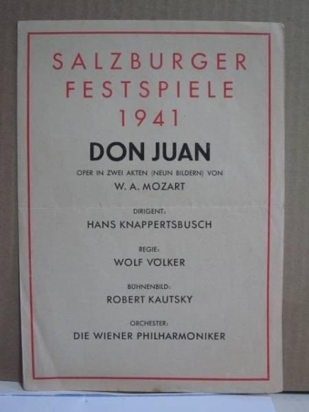 上演プログラム 1941年ザルツブルク音楽祭 ハンス・クナッパーツブッシュ ウィーンPO