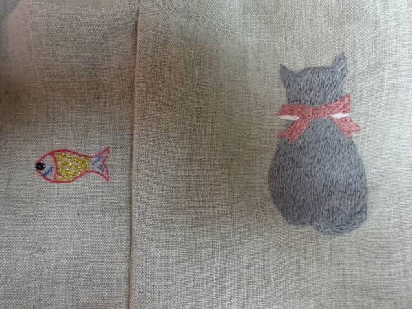 ハンドメイド☆刺繍☆おさかな猫巾着☆2個セット☆可愛い☆ナチュラル_画像3