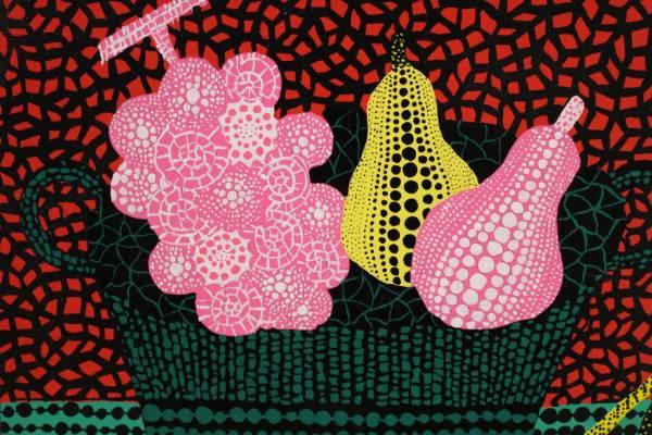 草間彌生 アクリル画 肉筆 画題「フルーツバスケット」 F3号 カラフルな一点 細密