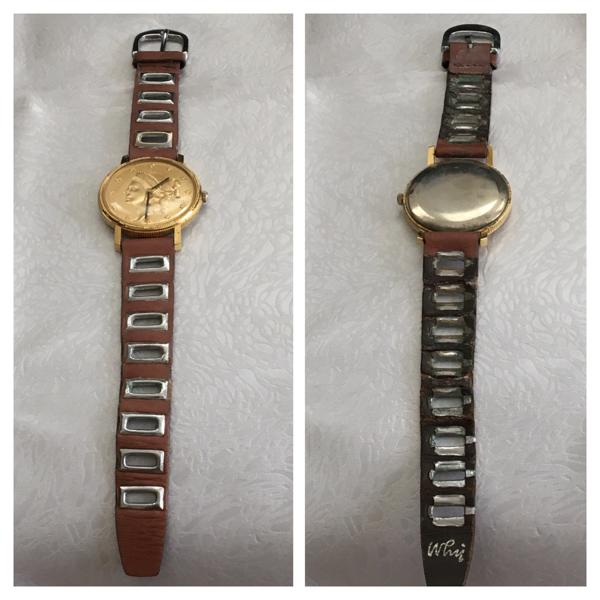珍しいデザイン! 手巻き delma スイス製 腕時計 ゴールド 硬貨 女性像 稼働品 デルマ_画像3
