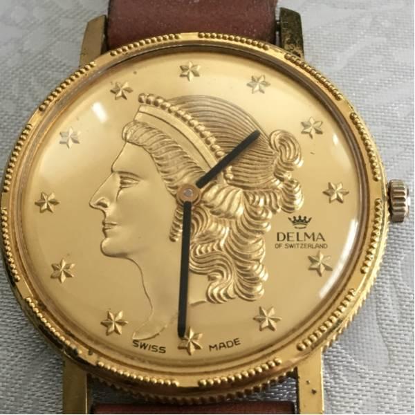 珍しいデザイン! 手巻き delma スイス製 腕時計 ゴールド 硬貨 女性像 稼働品 デルマ_画像2