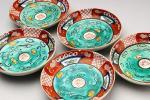 (航)初だし 越中丸山焼 赤絵小皿 豆皿 五枚 初荷 骨董 古玩 古美術品 古道具