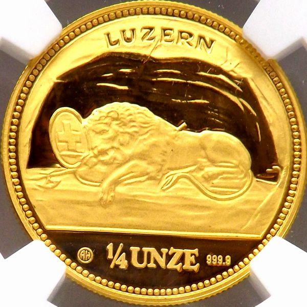 スイス 1988 LUZERN 嘆きのライオン 1/4UNZE 金貨 NGC PF69UC