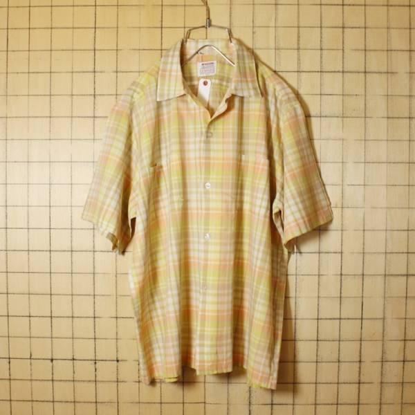 60s ビンテージ チェック 開襟 半袖 ボックスシャツ USA製 古着 ピンク メンズL オープンカラー McGREGOR マックレガー SCOTSET_画像1