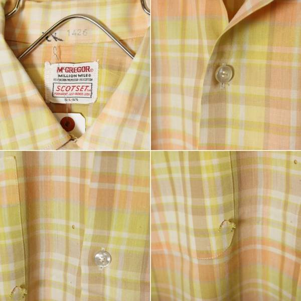 60s ビンテージ チェック 開襟 半袖 ボックスシャツ USA製 古着 ピンク メンズL オープンカラー McGREGOR マックレガー SCOTSET_画像2