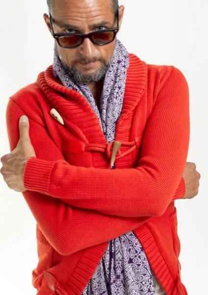 AKM pima cotton shawl toggle cardigan オレンジS_画像1