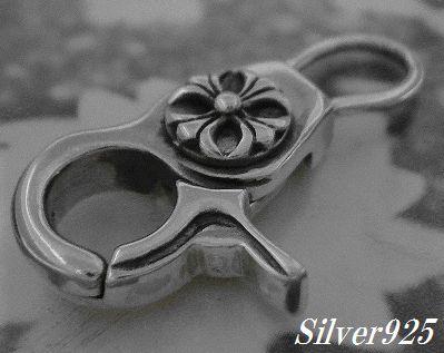 シルバー925銀のクロムハーツ風クロス クリップ ナスカン/キーホルダー等のカスタムパーツ