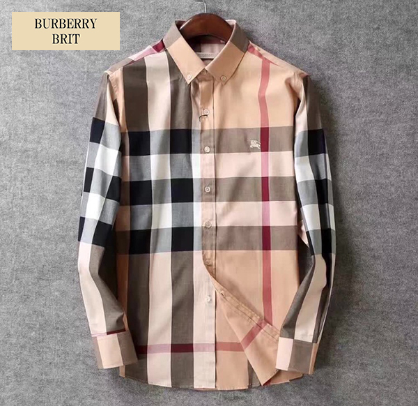 新品 バーバリー BURBERRY BRIT 綺麗なフィットライン!メガノバチェックシャツ◆ベージュ/L