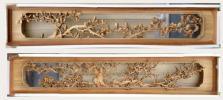 楠材製 井波彫刻 日展作家 祥雲作 春花木蓮一対 幅225cm