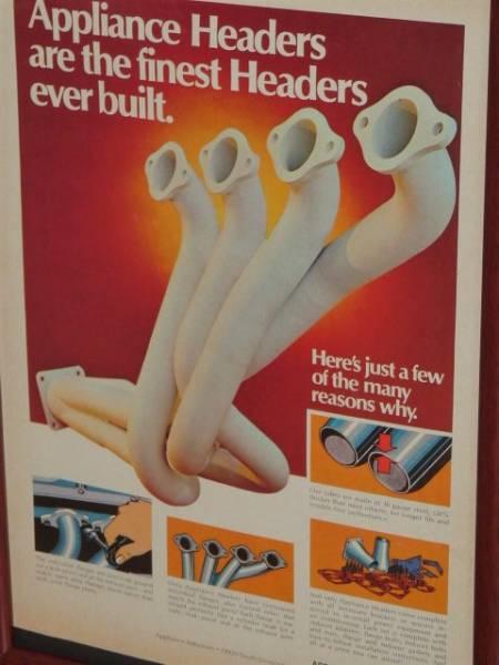 送料込み! 1974 U.S.A. '70s ビンテージ 雑誌広告 額装品 Appliance Headers アプライアンス ヘッダース // Ford Dodge ( A4サイズ )