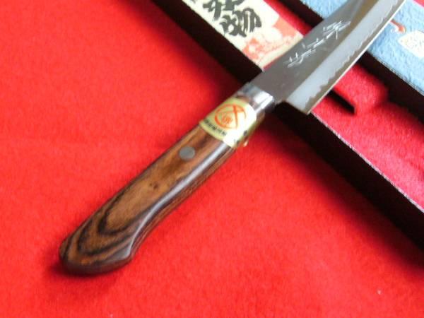 ★送料無料★ステンレスゴールド鋼ペティナイフ135㎜マホガニー柄さびにくくて切れ味抜群!_高品質なマホガニー柄