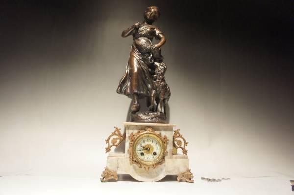 フランス美術 大型 大理石 ブロンズ 羊と女性像 装飾 時打ち置き時計 手巻き可動品