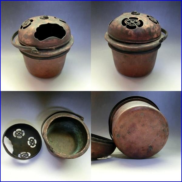 手炉■手焙り 花紋透かし 古銅製 手火鉢 火器 古美術 時代物 骨董品■_画像3