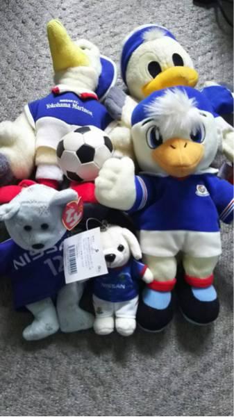 横浜Fマリノス NISSAN・FC時代のマリノスくん手人形他マリノスケとマリノスユニを着た人形全部で5体セット グッズの画像