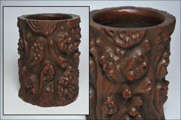 中国古玩 超絶技巧 古竹根 天然木文彫刻 筆筒 書道具 古美術品