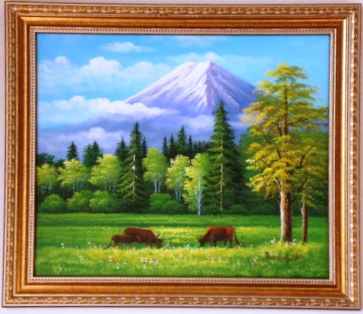富士山絵画 絵画 油絵 油彩 肉筆 風景画 雄大な富士山 12号G 見事な出来栄えです。お店に飾ってみませんか。