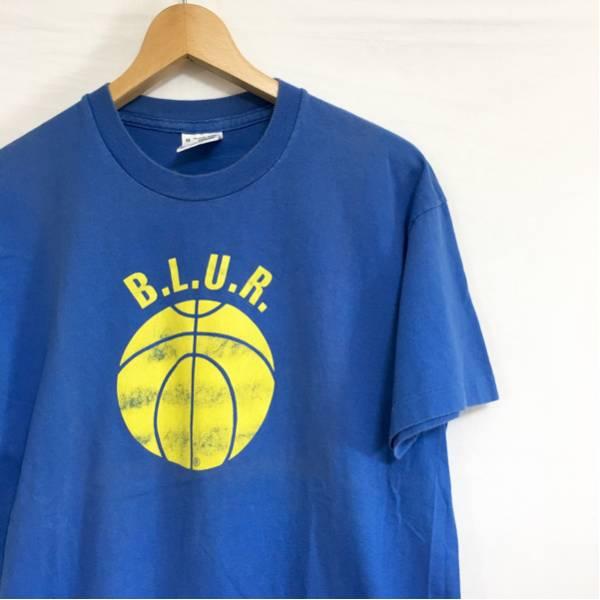 レア アイルランド製 90s ビンテージ BLUR 両面プリント バンド Tシャツ M ブルー 英国製 ブラー ロックT バンT OASIS SONIC YOUTH