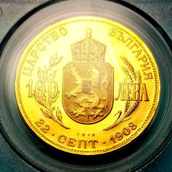 ☆ブルガリア/1912/100レフ金貨/PCGS/PR66 CAM/本物保証_画像2