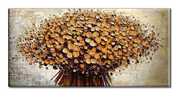 アートパネル 『フラワー・ブーケ(黄)』 60x120cm x 1枚 肉筆 お店のディスプレイ インテリア_画像1