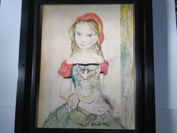 絵画、油彩6F ,肉筆保証、藤田嗣治。猫を抱く少女。。