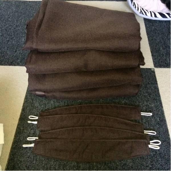 ◆美品◆ 無印良品 100×220㎝用 オーダー カーテン 遮光1級 防炎ドビー織 ブラウン 透けにくい 綿麻レースカーテン MUJI 8点セット 生成_画像2