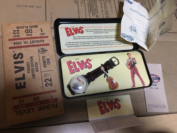 新品未使用 ビンテージ エルビスプレスリー 缶入り 腕時計 缶バッジ付き 完品 アンティーク レコード フォッシル fossil