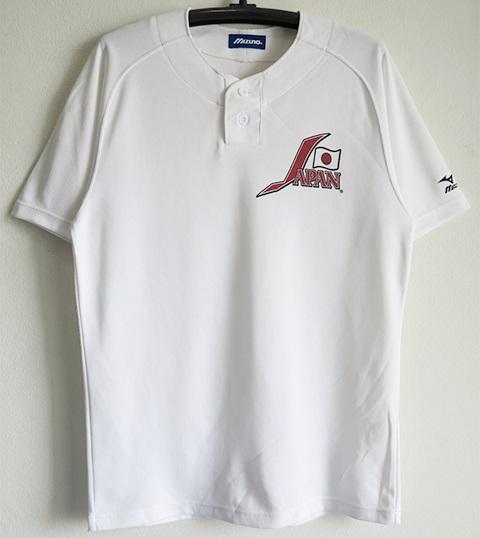 ミズノ製 野球日本代表 ベースボールシャツ 白 Lサイズ