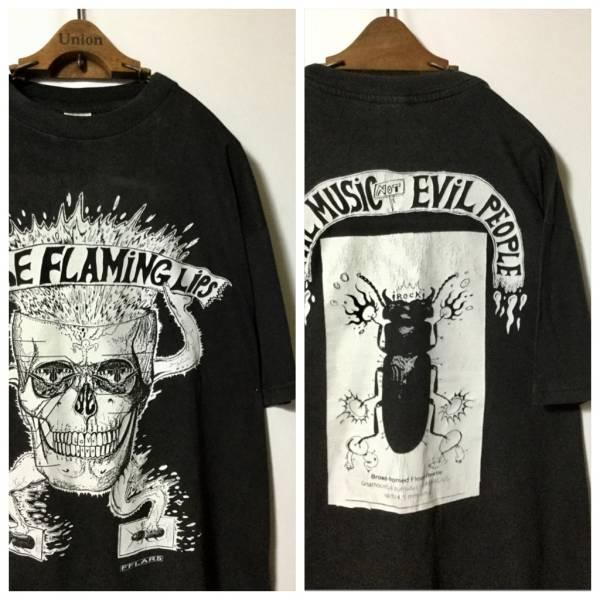 90年代 オリジナル ヴィンテージ THE FLAMING LIPS フレーミングリップス スカル ビートル 両面プリント Tシャツ ( EURO XL ) フレミン