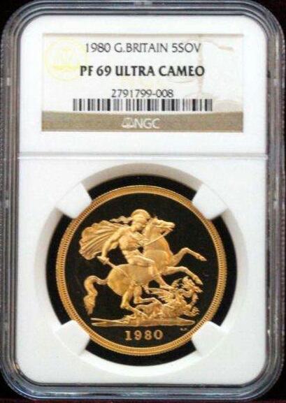 エリザベス2世女王 5 ポンド金貨1980 PF69 DEEPCAMEO