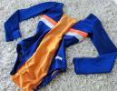 ネイビーブルー×オレンジ:ラインストーン付きスポーティタイプ競技用レオタード*新体操