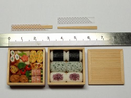 樹脂粘土ミニチュア☆1/6サイズ 行楽弁当・二段重_画像3