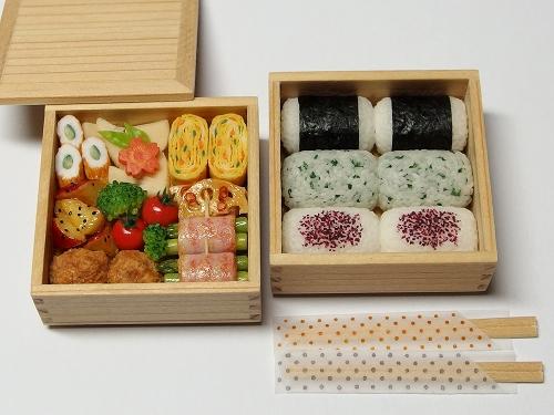 樹脂粘土ミニチュア☆1/6サイズ 行楽弁当・二段重