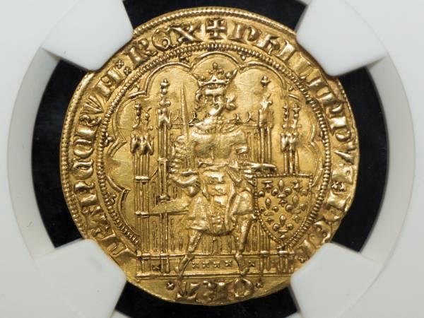 フランス ECU'OR NGC AU58 エキュドール金貨 フィリップ6世 1328-50年 準未使用品