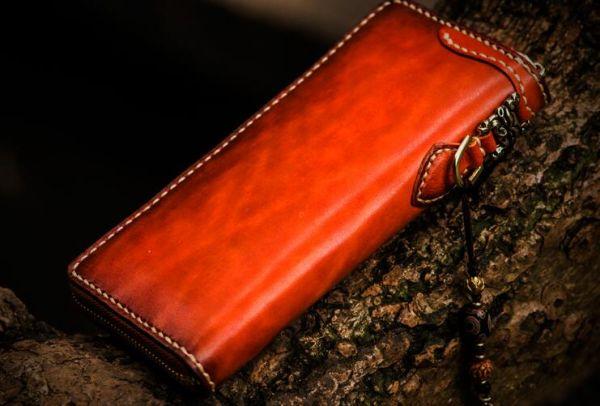 新作限定品イタリア本革 最高の逸品メンズ 手染め手縫い ハンドメイド 牛革 財布ラウンドファスナー 長財布ウォレット 真鍮ストラップ付き_画像2