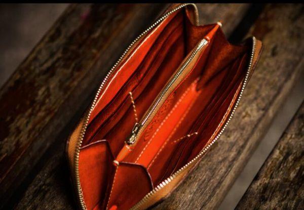 新作限定品イタリア本革 最高の逸品メンズ 手染め手縫い ハンドメイド 牛革 財布ラウンドファスナー 長財布ウォレット 真鍮ストラップ付き_画像3